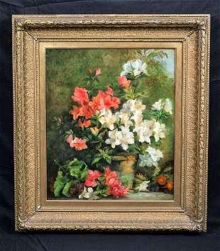 Still Life Azeleas Garden Flowers Study Oil Painting