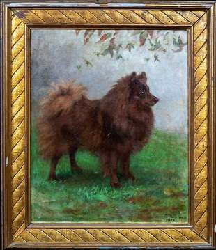 Brown Spitz Dog Portrait Oil Painting