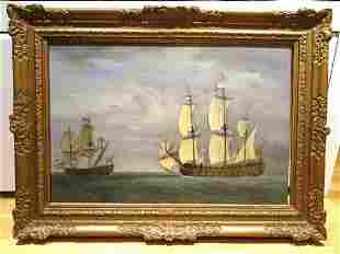 British Royal Navy French Ships Battle Oil Painting