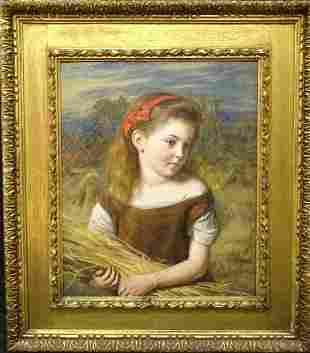 Scottish Girl Corn Field Portrait Oil Painting