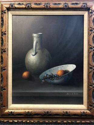 OIL ON CANVAS BOWL WITH FRUITS.