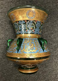 EXTREMELY IMPORTANT LARGE ENAMELLED MOSQUE LAMP