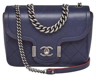 Chanel Navy Blue Caviar Leather Arch Chic Small