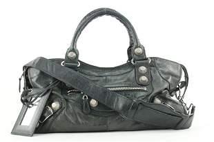 Balenciaga Black Leather Giant City 2way Bag With Strap