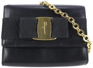 Salvatore Ferragamo Black Leather Mini Vara Chain