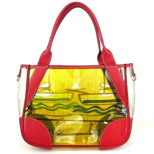 Prada Clear Tote Red Yellow