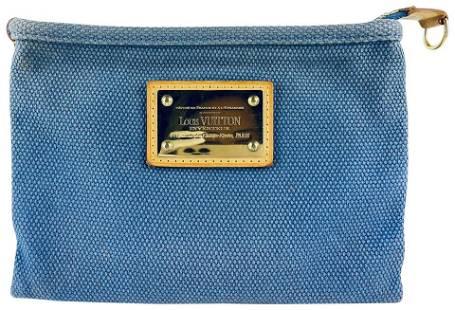 Louis Vuitton Blue Antigua Canvas Pochette Plate