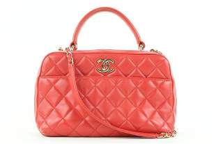 Chanel Red Quilted Lambskin Trendy CC Bowling Bag Coco