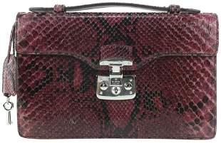 Gucci Purple Python Small Lady Lock Top Handle Clutch