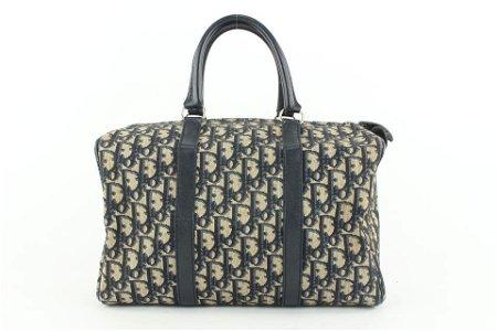 Dior Navy Blue Monogram Trotter Boston Bag
