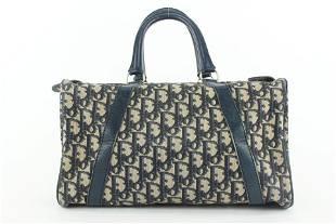 Dior Navy Blue Monogram Trotter Boston Duffle Bag