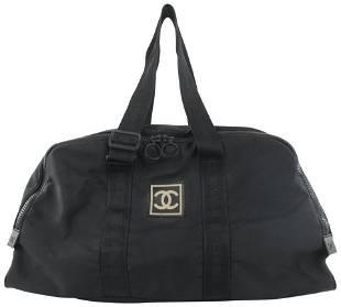 Chanel Black CC Logo Sports Boston Duffle Bag