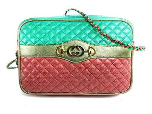 Gucci Green X Red X Gold Laminated Calfskin Quilted