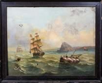 Ships Sailing Oil Painting