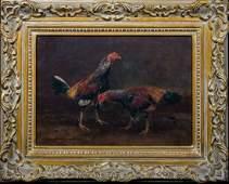 Fighting Cockerels Oil Painting