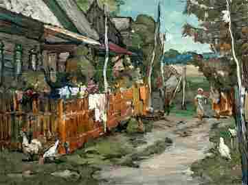 Impressionist Farm Landscape Oil Painting