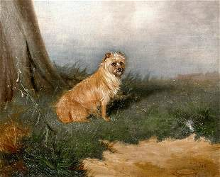 Wire Haired Terrier Dog Oil Painting