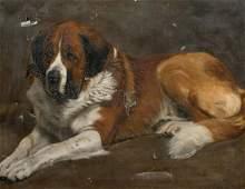 Portrait Of A St Bernard Oil Painting