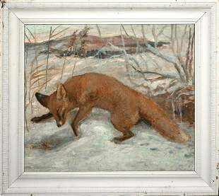 Winter Fox Oil Painting