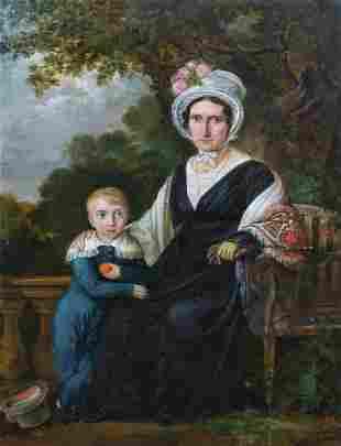 Portrait Of A Lady & Boy Oil Painting
