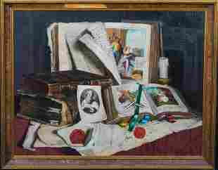 Books & Papers Oil Painting