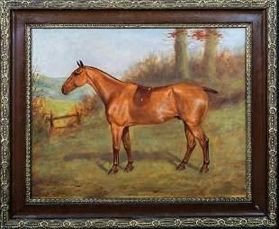 Chestnut Hunter Horse Oil Painting