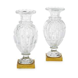 A PAIR OF LATE 19TH CENTURY FRENCH BACCARAT CRYSTAL CUT
