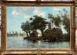 River Scene with Village Church