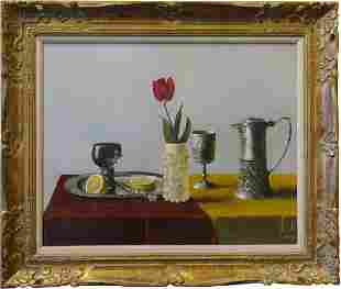 Large Still Life With Pewter and Rose