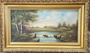 Untitled Painting of A Lake With Waterfall