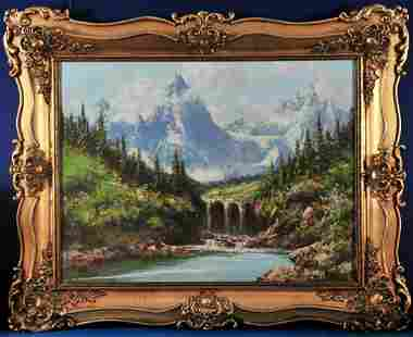 Waterfall and Mountains Oil Painting