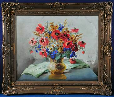 Flowers In A Glass On A Table Oil Painting