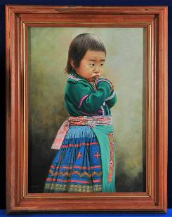 Portrait of A Mongolian Chilld Oil Painting