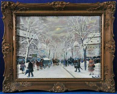 Snowy Street View of Budapest Oil Painting
