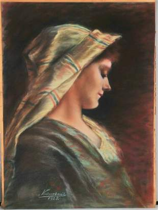 Lady with A Scarf Oil Painting