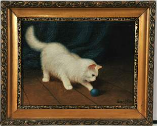 Cat Playing Oil Painting