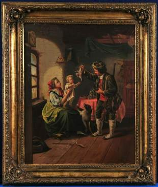 Returning Hunter Oil Painting
