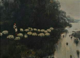 Flock of Sheep on A Meadow Oil Painting