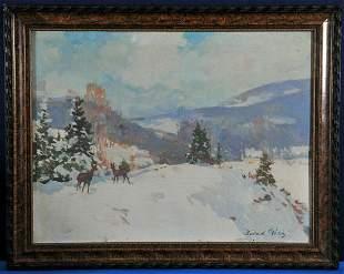 Snowy Field With Deer Oil Painting