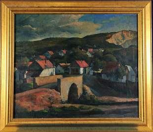 Village Landscape Oil Painting