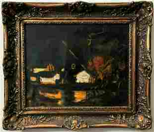Black Flour-Mill Oil Painting