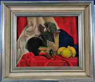 Modern Still Life, 1920's Oil Painting