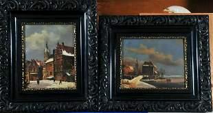 Winter Street Scene Amsterdam Oil Painting