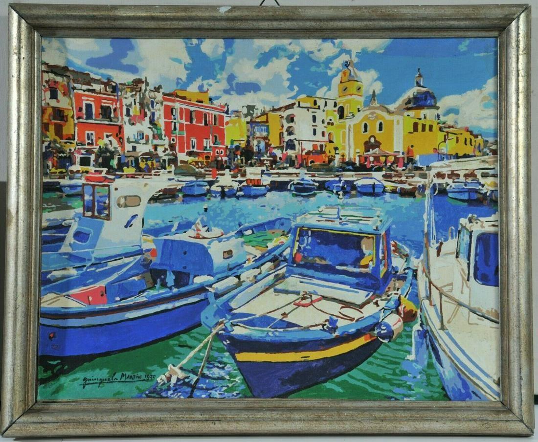 Mediterranean Harbor View Oil Painting