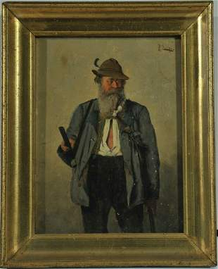 Old Hunter Oil Painting