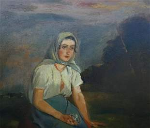 Painting of A Sitting Lady Oil Painting