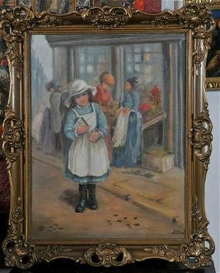 Little Girl On the Street Oil Painting