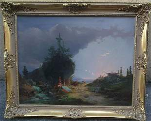 Bucolic Love Scene Oil Painting