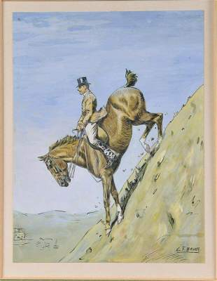 Sportman On His Horse Oil Painting
