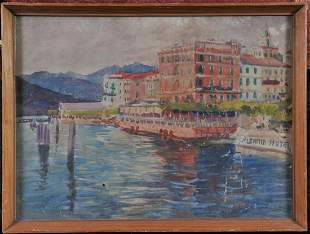 Mediterranean View of the Port of Bellagio Oil Painting